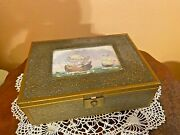 Antique French Gilt Gold Color Alloy Jewelry Trinket Box Ships Picture Mirror