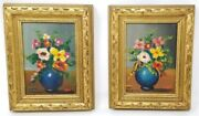 Two Signed Oil Paintings On Canvas Still Life Flowers In Vase Floral Arrangement