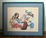 Jan Hagara Cross Stitch Completed Framed Children Doll Book Reading Chair Oliver