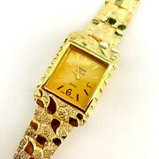 14k Yellow Gold Graduated Nugget Style Geneve Square Watch Ej16706
