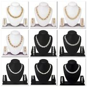 Choker Indian Bollywood Fashion Gold And Silver Diamond Necklace Earrings Jewelry
