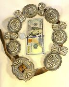 Large 8.9ozt Harry Morgan Signed Heavy Navajo Concho Belt Buckle Sterling Silver