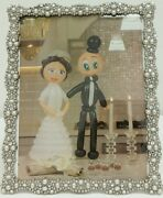 New Antique Looking Silver Pearls Crystals Jeweled 8 X 10 Wedding Picture Frame
