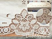 Antique Vintage Immense Lace Embroidered Cutwork Tablecloth 98x66 Estate