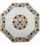 30 Marble Table Top Handmade Floral Carnelian Inlay Home Decor Furniture