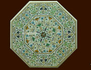 24 Marble Coffee Center Table Floral Inlay Semi Precious Stones Work Home Decor