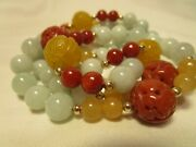 Amazing Vtg 14k Gold Carved Chinese Genuine Mutton Red Yellow Jade Necklace Rare
