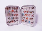 Vintage Wheatley 85 X Clip Lined Fly Box And Selection Of Trout Flies