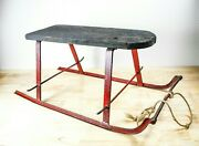 Antique 1900s Sleigh Wood And Iron Snow Iron Curlicue Runners Vintage Winter Sled