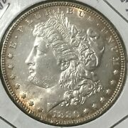 1880 P Morgan Dollar End Of Roll Coin Monster Toning Obverse White Reverse