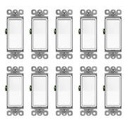 Decorator On/off Rocker In Wall Paddle Switch 15a Single Pole 10 Pack White