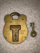 Genuine Antique English Squire Solid Brass Padlock With Key And 4 Levers