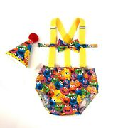 First Birthday Boy Outfit, Cake Smash Boy Outfit, Boy Bowtie Diaper Cover, Elmo
