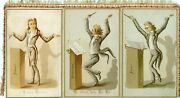 Music Conductor A Superb Comical Early Xmas/new Year Expanding Card 6 Sided
