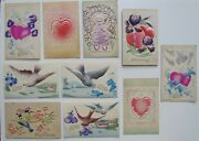 Lot Of 10 Valentine Embossed Antique Postcards Doves Cupid Hearts