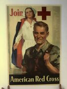 Authentic Wwii Join Red Cross Recruitment Poster W/ Nurse By Walter Seaton