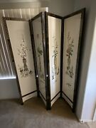 72 Inch Chinese Carved Folding Wood Screen. 4 Panels.