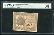 Cc-80 September 26 1778 7 Seven Dollars Continental Currency Pmg Unc-64epq