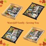 Scenic Waterfall Food Serving Tray Dogs Cats Pet Photo Lovers Gift Kitchen