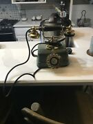 Antique Brass And Cast Iron Rotary Phone Dragon Design
