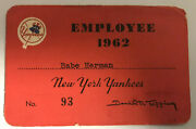 Mickey Mantle 1962 New York Yankees Champs Ticket Pass Mvp/30hr/4 Consecutive Hr