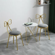 2 Set Upholstered Dining Chairs Girls Bedroom Glam Makeup Stool Chair Gold Legs