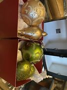 Saks Fifth Avenue Jewelled Glass Christmas Ornaments Gold And Green Bundle