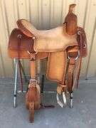 Western Natural And Brown Leather Strip Down Roper Ranch Cutter Saddle 15,1617