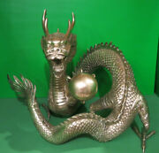 Antique Vintage Chinese Asian Dragon W Flaming Pearl Of Immortality Fountain