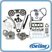 Head Gasket Timing Chain Oil Water Pump Cover Set For 07-08 Chevy Hhr Cobalt 2.2