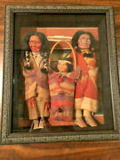 Skookum Family Framed Composition Indian Dolls Father Mother Child 13 Tall Euc