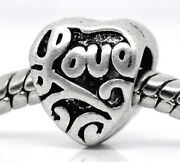 Love Heart Spacer Beads 5 10 20 - European Style Charms Word Message Diy Jewelry