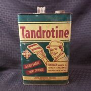 Nice Vintage 1 Gallon Tandrotine Paint Thinner Oil Metal Can Great Graphics