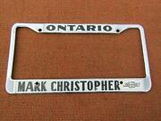 1960-70and039s Mark Christopher Chevrolet Ontario Ca Orig Metal License Plate Frame