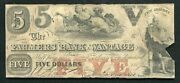 1859 5 The Farmers Bank Of Wantage New Jersey Obsolete Currency Note Rare