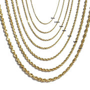 14k Solid Yellow Gold 1-9mm Dc Rope Heavy Chain Necklace Men Women 16-30