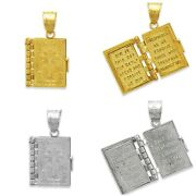 14k Solid White Yellow Gold Holy Bible Open Pages Locket Pendant Charm