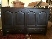 English Antique Blanket Chest Coffer Trunk Furniture 1700and039s Initialed Beauiful