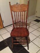 Oak Chair Vintage Antique Or Colonial High Back Spindles