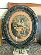 Antique Currier And Ives Lithograph The First Care Wavy Glass And Original Frame