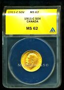 Canada 1911 C Gold Coin Gv Sovereign Anacs Certified Genuine Ms 62 Brilliant