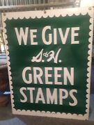 Sandh Green Stamps Double Sided Porcelain Store Sign. Excellent Original Confition