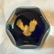 """Vintage Baccarat """"american Express"""" Gold Eagle Faceted Paperweight 1120"""