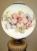 Vintage, Rochester Abco, Kero Oil, Parlor, Lamp, Hurricane, Gwtw, Hand Painted