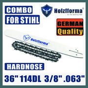 36 3/8 .063 114dl Hard Nose Bar Full Chisel Saw Chain For Stihl Ms440 Ms441 044