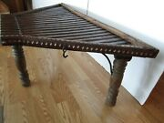 Antique Industrial Steampunk Cart Ramp Coffee Side Table Iron And Wood Salvage