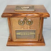 United States Post Office Lock Box Coin Bank 227 Us Mail Box Zebra Wood Le 1885