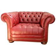 Vintage Chesterfield Lounge Leather Club Chair Rolled Arms And Back Tufted Seat
