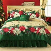 3pc Twin Poinsettia Border Comforter Set Green Floral Holiday Flowers Comforter