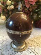 Antique 19th Century Coconut Shell Silver Mounted Hinged Humidor Box